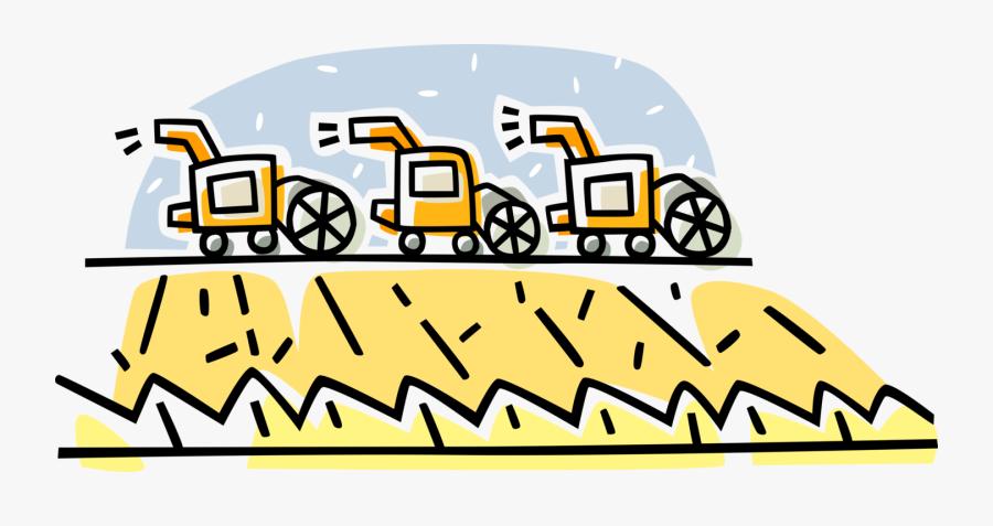 Vector Illustration Of Farming Grain Combine Harvester, Transparent Clipart