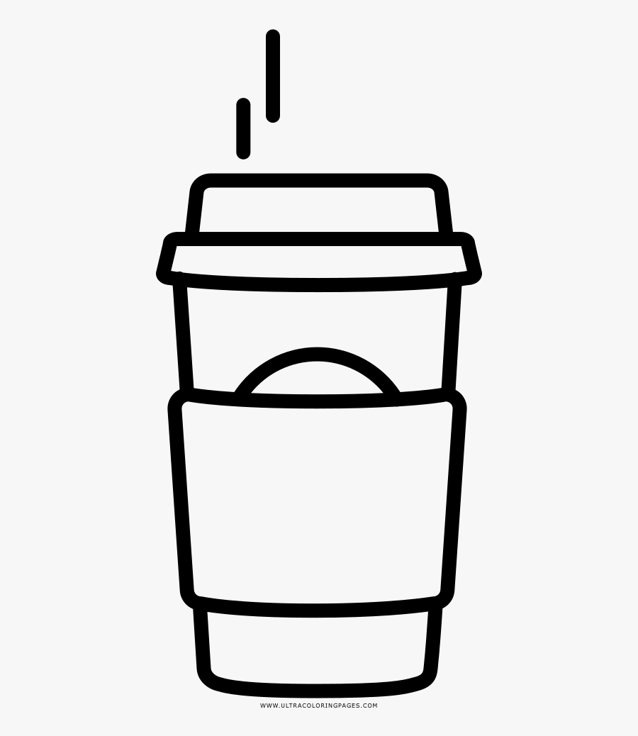 Hot Coffee Coloring Page - Outline Of A Starbucks, Transparent Clipart