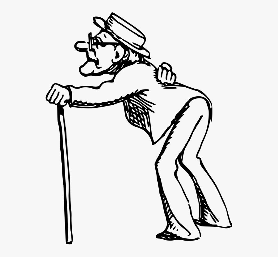 Standing,line Art,muscle - Old Man Clipart Black And White, Transparent Clipart