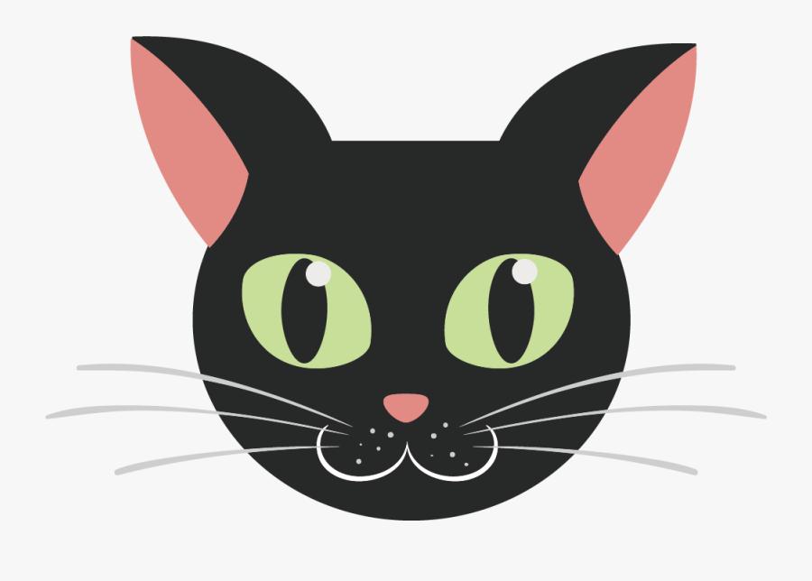 Black Cat Kitten - Cara De Gato Dibujos, Transparent Clipart