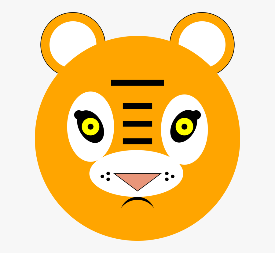 Head,carnivoran,whiskers - Tiger, Transparent Clipart