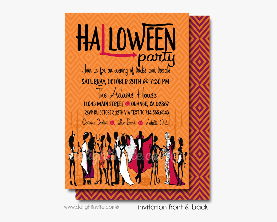 Clip Art Adult Halloween Cocktail Party - Invite For Halloween Costume Party, Transparent Clipart
