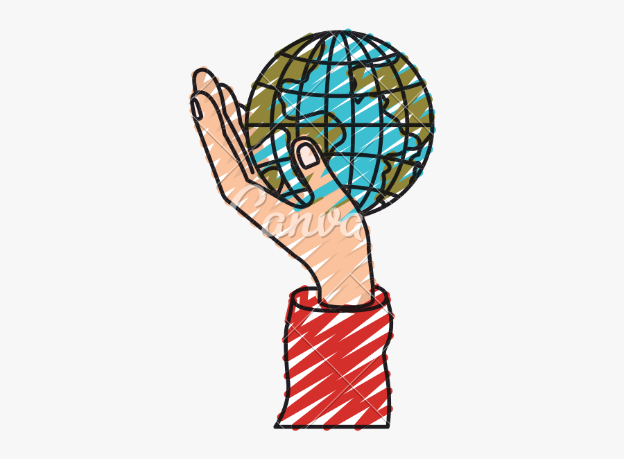 Marketplace Drawing Crayon - Earth In Hand Drawing With Color, Transparent Clipart