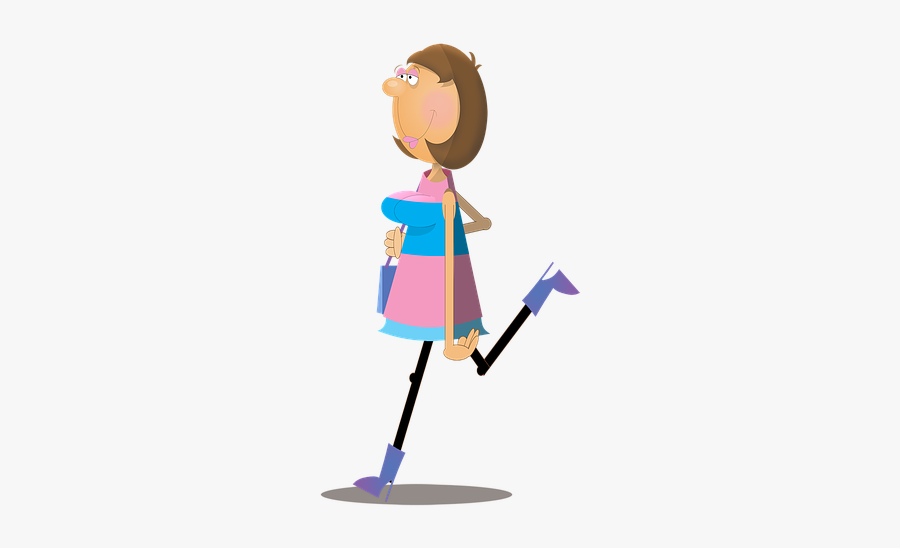 Woman Female Cartoon - Woman Walking Png Animated, Transparent Clipart