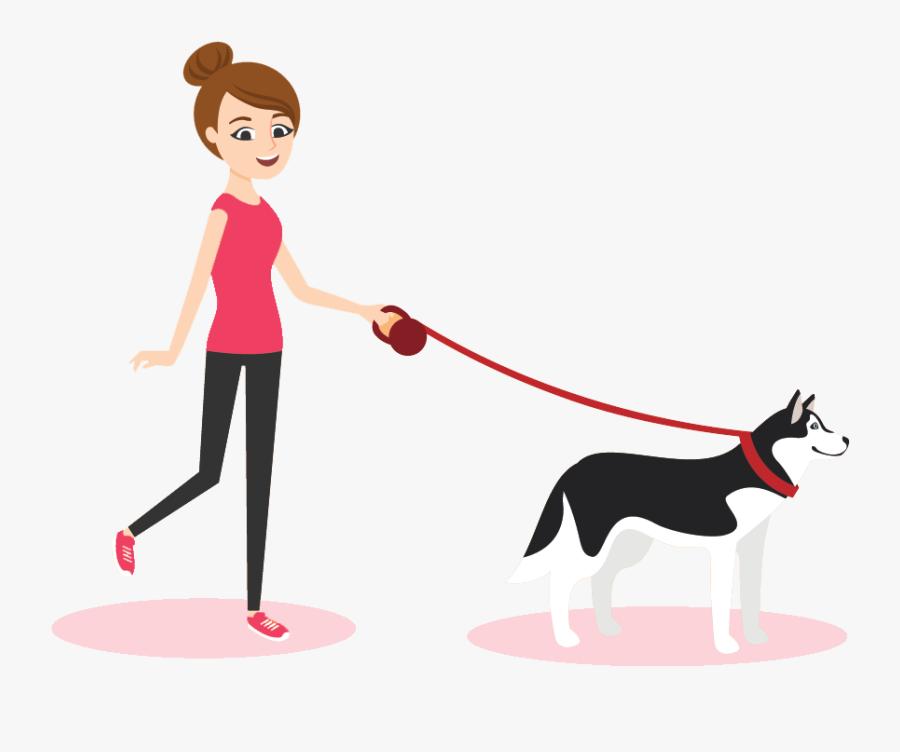 Transparent Person Walking Dog Png - Cartoon Person Walking Their Dog, Transparent Clipart