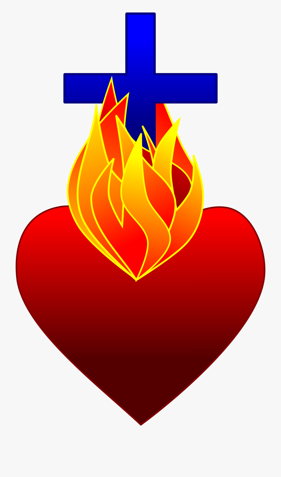 Fire Cliparthot Of Sacred - Heart With Cross And Fire, Transparent Clipart