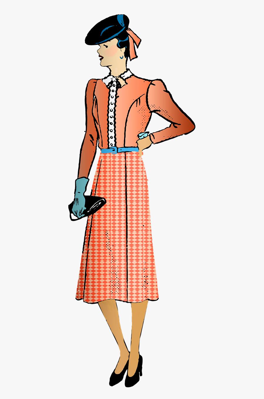 """Retro Woman Vintage Woman 1940""""s - 1940 Fashion Png, Transparent Clipart"""