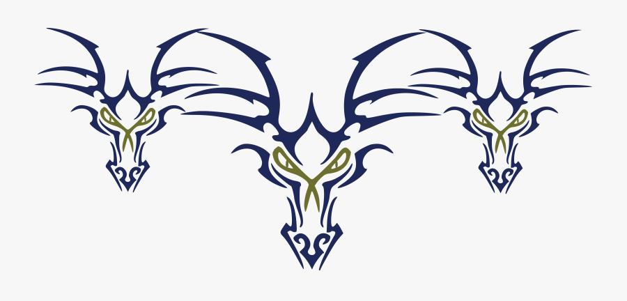 Transparent Tribal Dragon Png - Tribal Dragon Head Tattoo, Transparent Clipart
