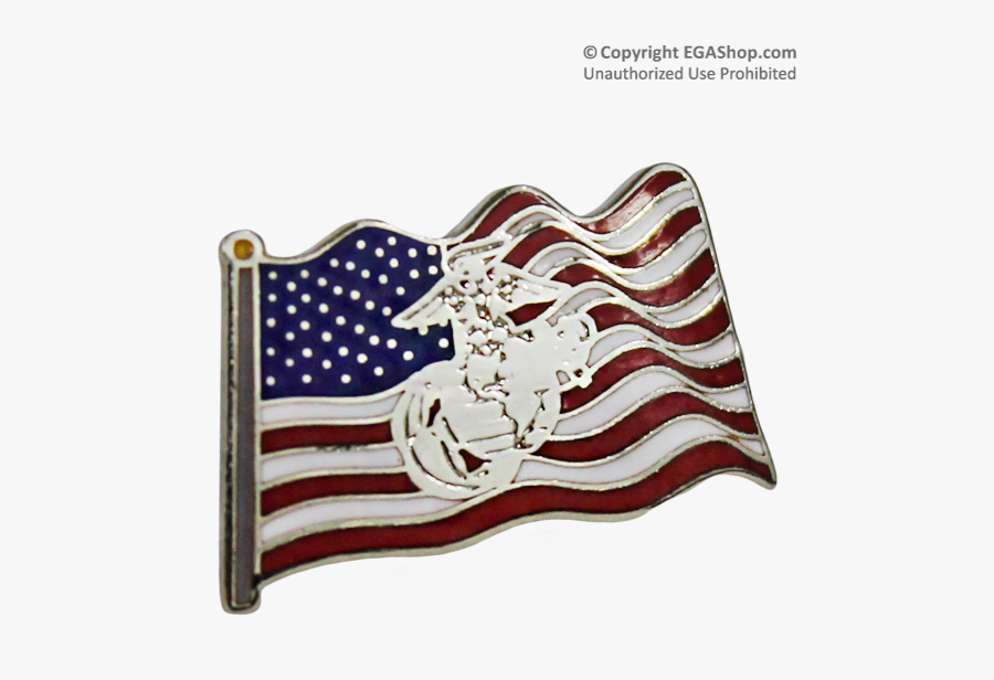 Lapel Pin American Flag - American Flag And Eagle Globe And Anchor Lapel Pin, Transparent Clipart