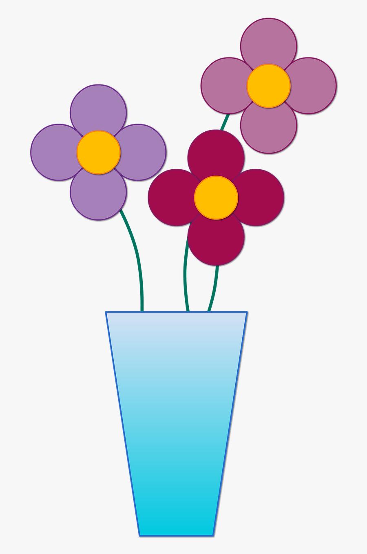 Vase With 3 Flowers Clipart, Transparent Clipart
