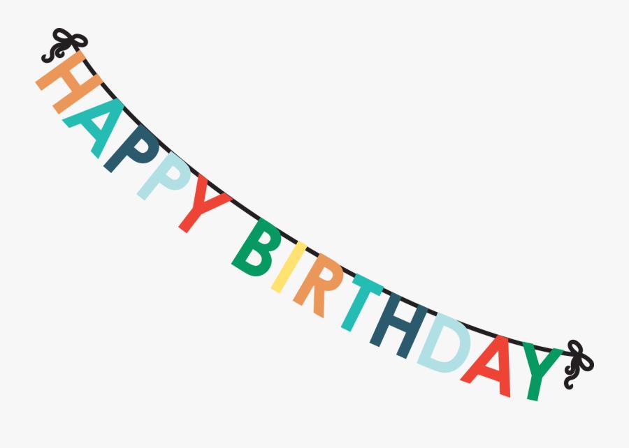 Clip Art Svg Cut File Snap - Happy Birthday Banner Long, Transparent Clipart