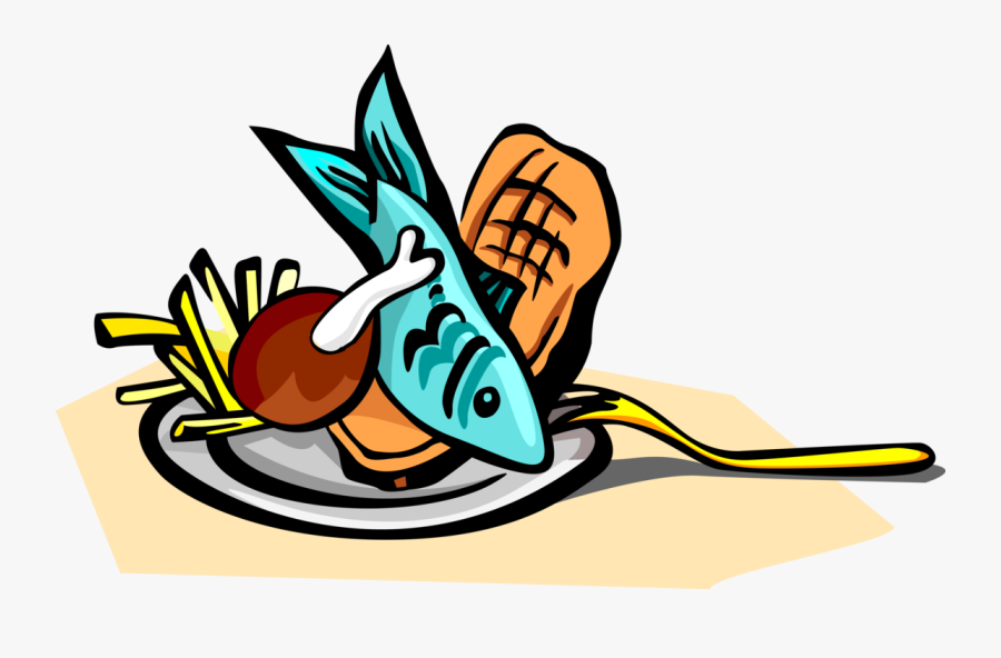 Vector Illustration Of Fish And Chips Food Platter - Fish And Chips Clipart, Transparent Clipart