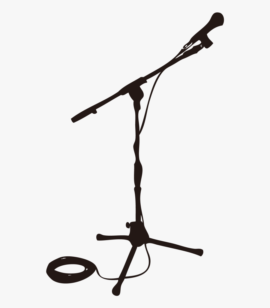 Microphone Stands Stage Drawing - Silhouette Microphone ...