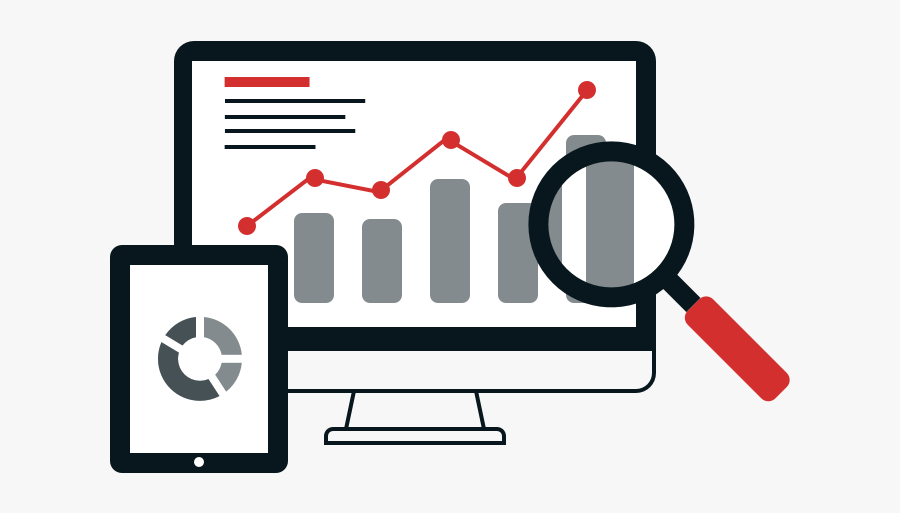 Image Showing A Webpage Displaying Analytics With Magnifying - Digital Marketing Vector Png, Transparent Clipart