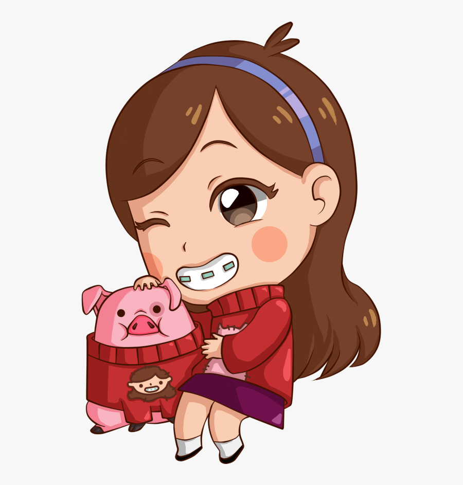 Gravity Falls Drawings - Gravity Falls Mabel And Dipper And Waddles, Transparent Clipart