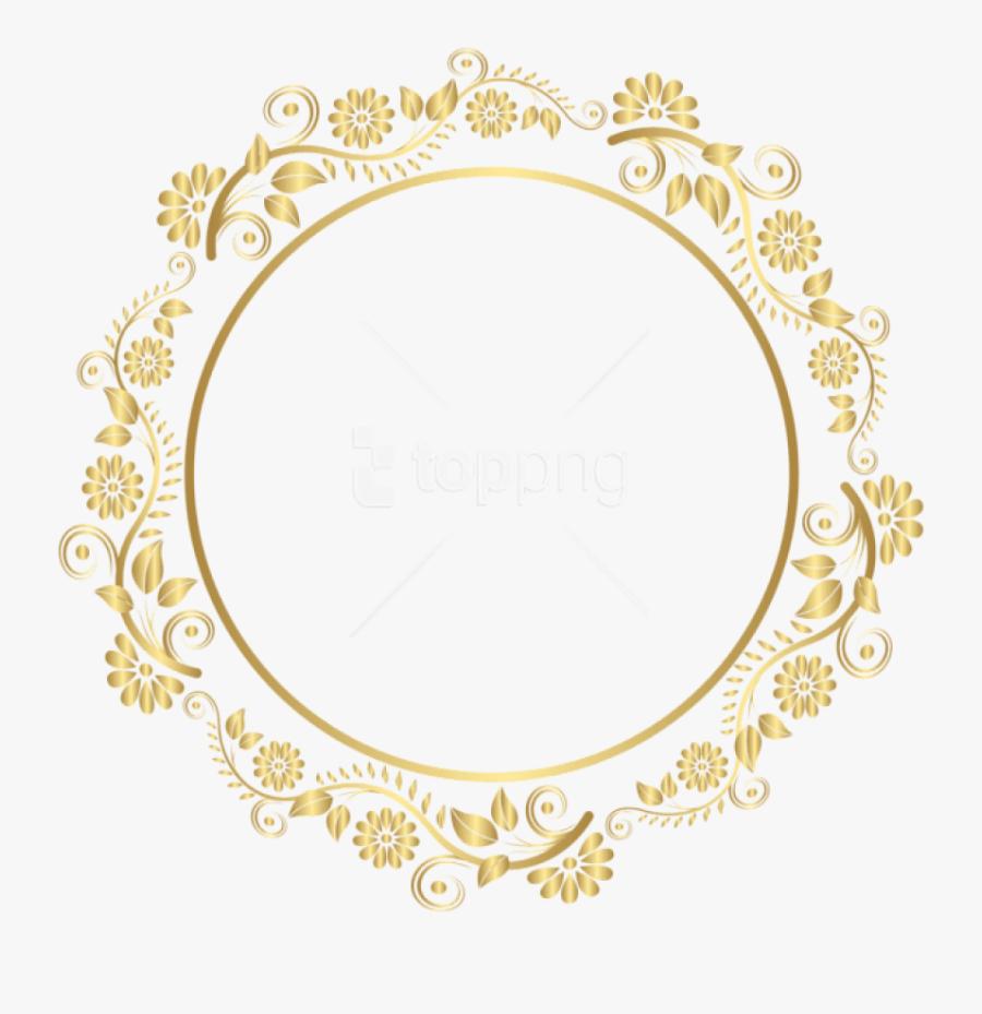 Oval Clipart Gold Frame - Golden Border Design Png, Transparent Clipart