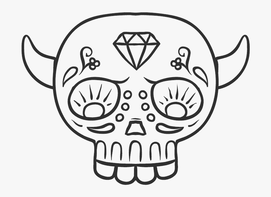 Transparent Simple Sugar Skull Clipart - Easy Sugar Skulls Drawings, Transparent Clipart
