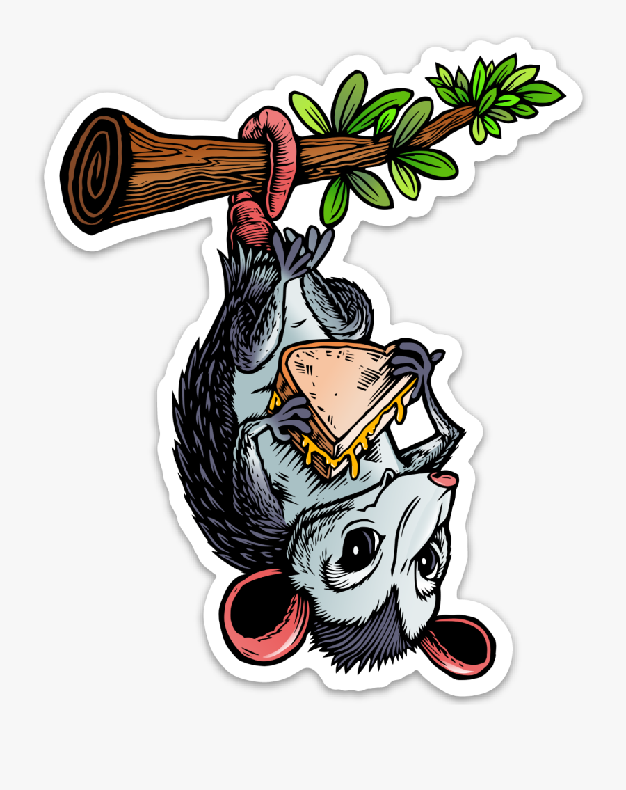 Image Of Opossum Eating Grilled Cheese Sticker, Transparent Clipart