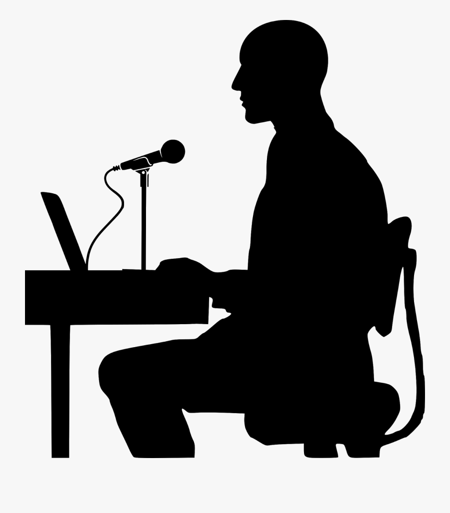 Ambassador, Introduction, Microphone, Speech, Ceo, - Person On Computer Silhouette, Transparent Clipart