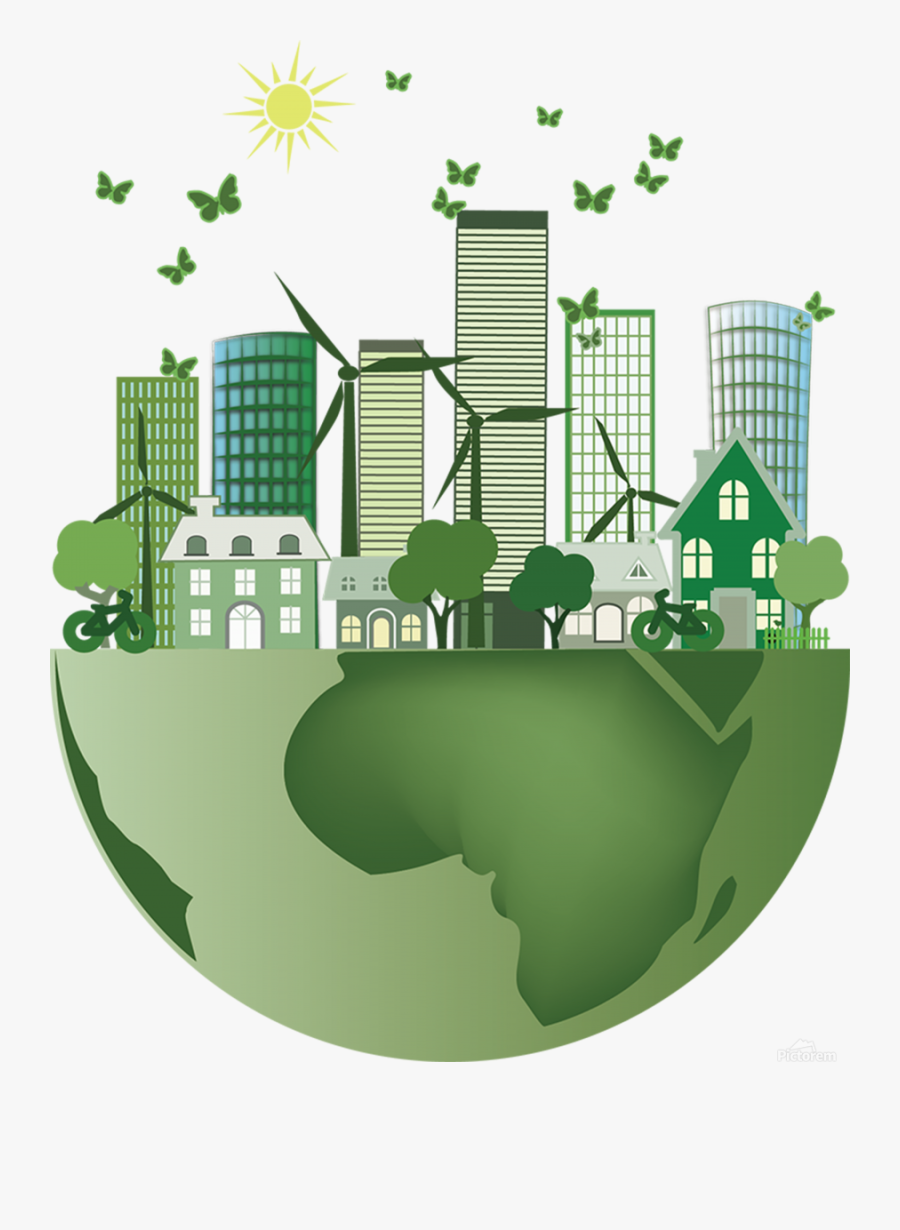 Vector Energy Saving Caring For The Earth Print - Green Smart City, Transparent Clipart
