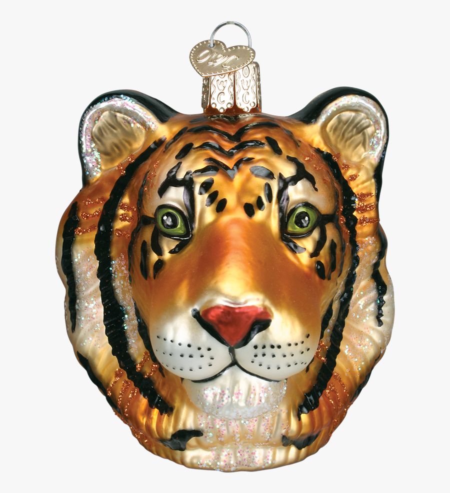 Old Word Christmas Tiger Head Glass Ornament, Owc-old - Tiger Ornament, Transparent Clipart