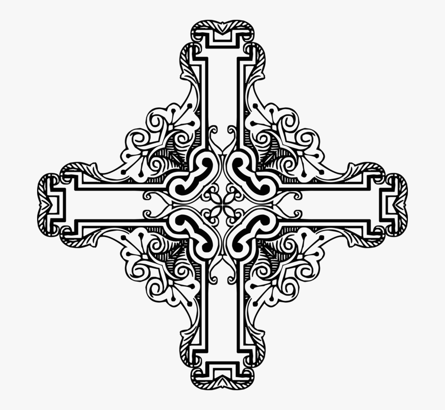 Line Art,symmetry,visual Arts - Black And White Crucifix Art, Transparent Clipart