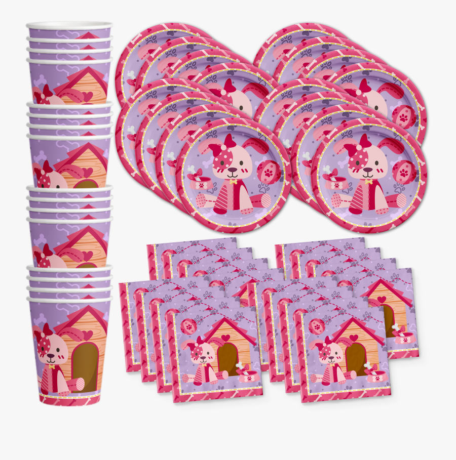 Pink Girl Puppy Dog Birthday Party Tableware Kit For, Transparent Clipart