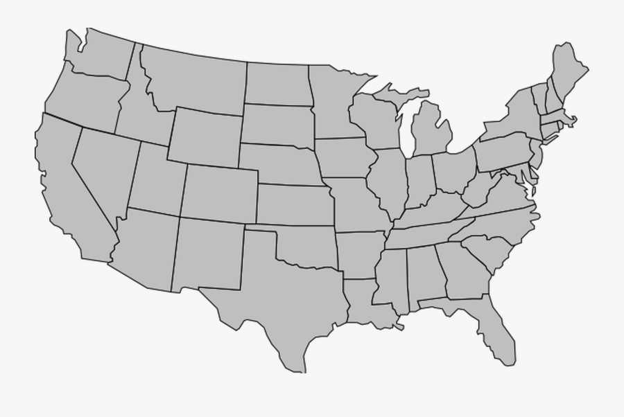 United States Of America Map Outline Gray Clip Art - Gray Map Of Usa, Transparent Clipart