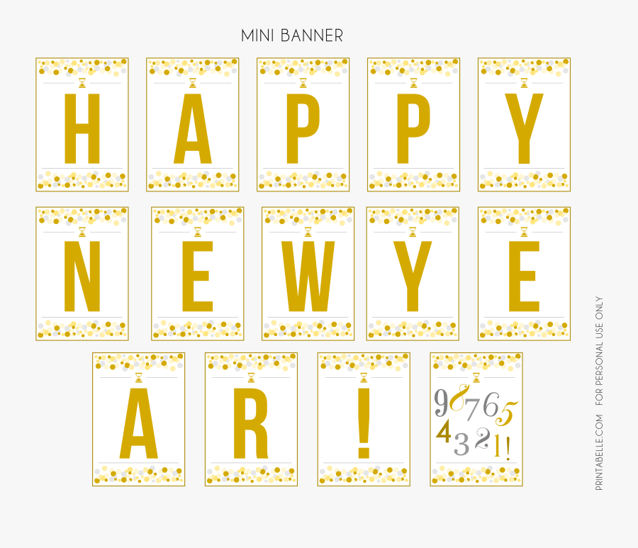 Printable New Year Banner - New Year Party Free Printables, Transparent Clipart