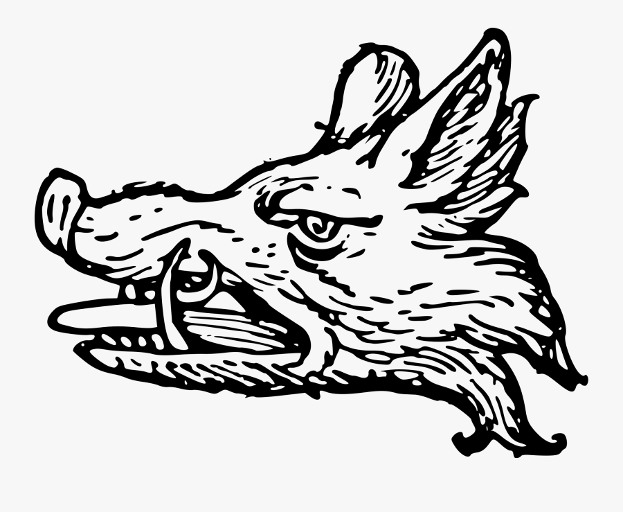 Wild Boar Family Crest, Transparent Clipart