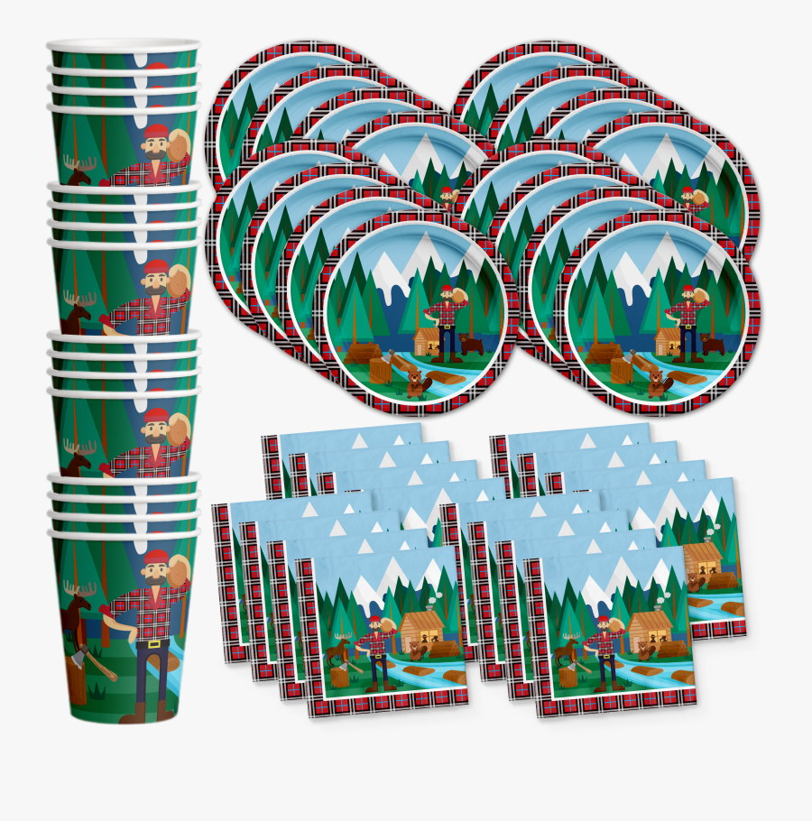 Lumberjack Birthday Party Tableware Kit For 16 Guests - Monster Truck Party Supplies, Transparent Clipart