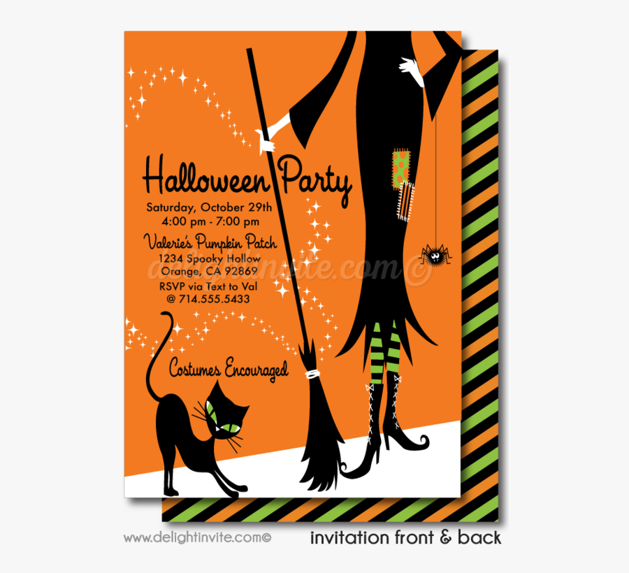 Clip Art Halloween Tagged Cute Witch - Halloween Cute Witch Invitations, Transparent Clipart