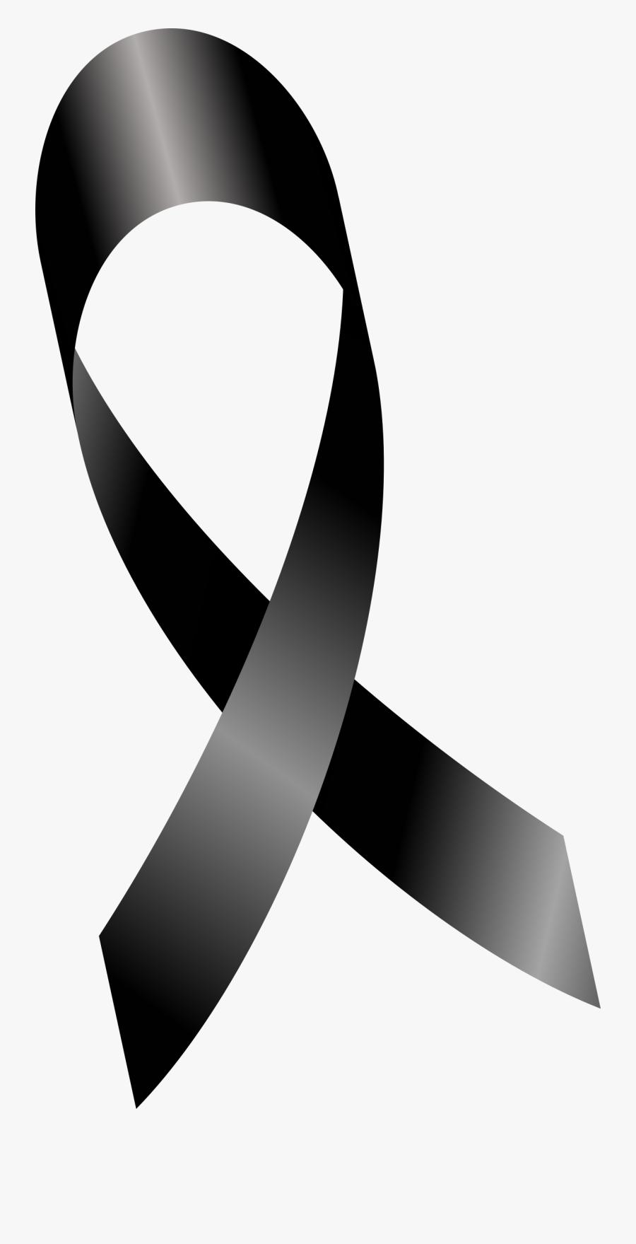 Ribbon Clip Art - Cancer Ribbon Png Black , Free ...