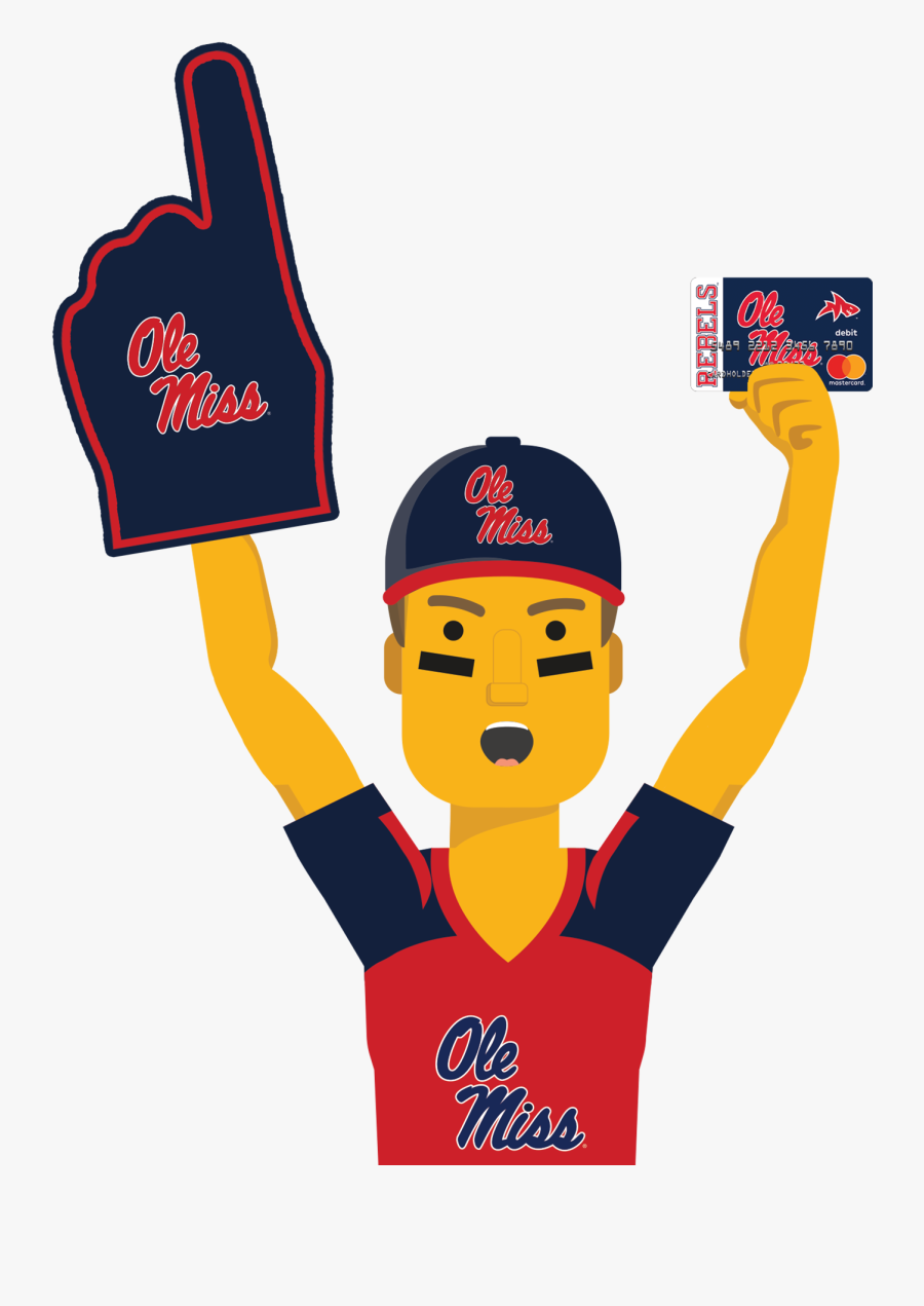 Ole Miss Ultimate Fan Holding The Ole Miss Fancard - Mississippi State University, Transparent Clipart