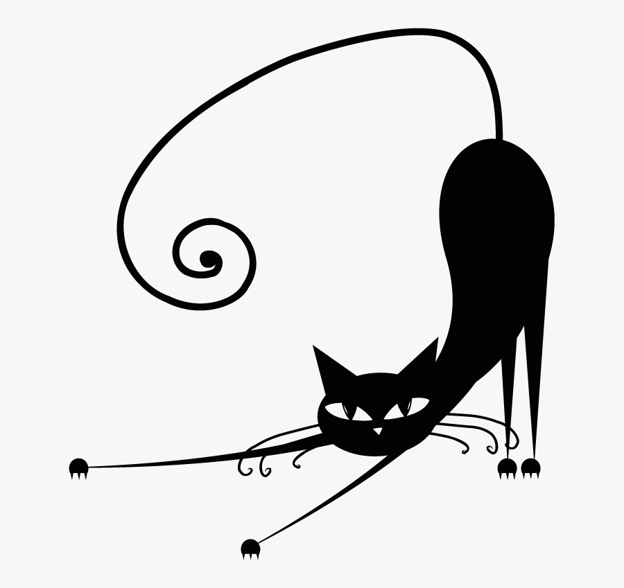 Cat Design Black And White, Transparent Clipart