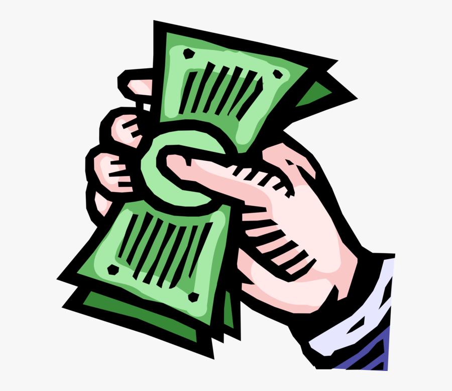 Vector Illustration Of Hand Grasps Cash Dollar Bill - Bargeld Clipart, Transparent Clipart