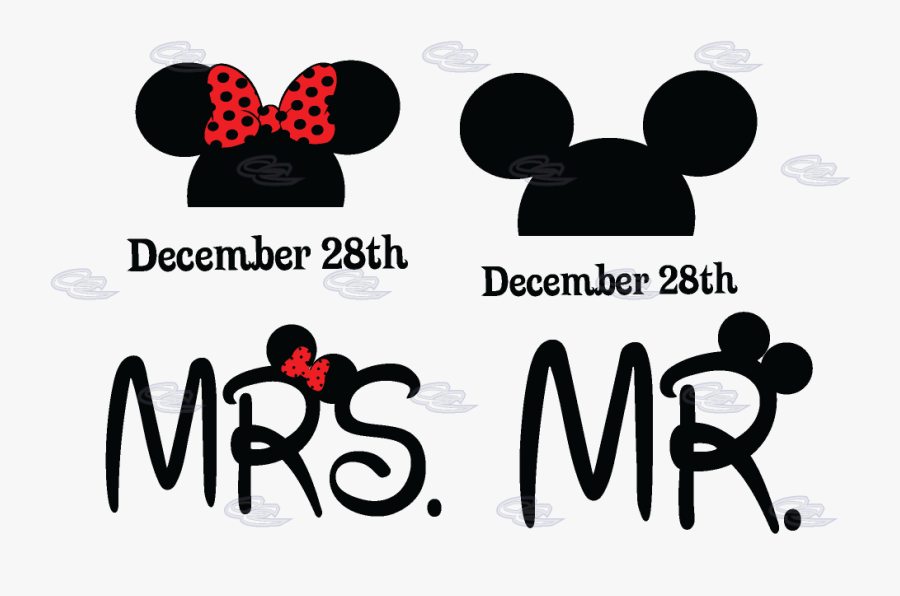 Mr Mrs Mickey Minnie Mouse Heads With Custom Wedding - Mickey Mouse Y Minnie Mrs, Transparent Clipart