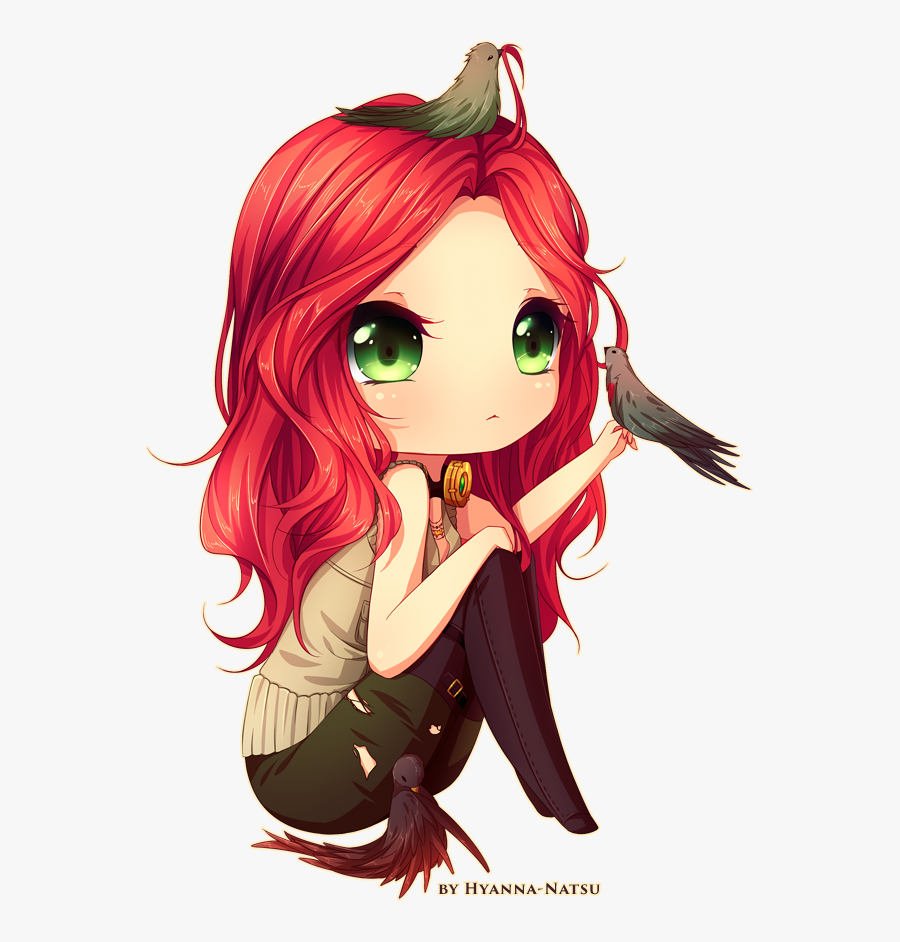 Clip Art Cartoon Character With Red Hair - Anime Girls Red Hair Green Eyes, Transparent Clipart