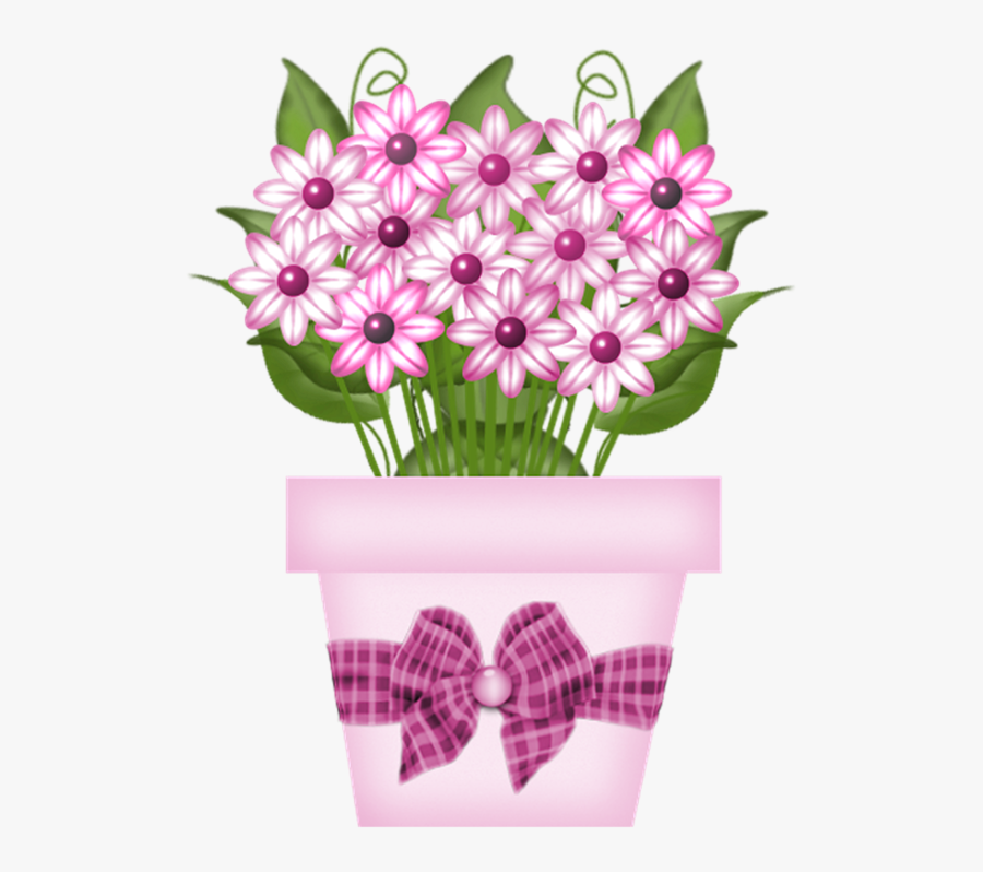 Pink Flowers In Pot Clipart, Transparent Clipart