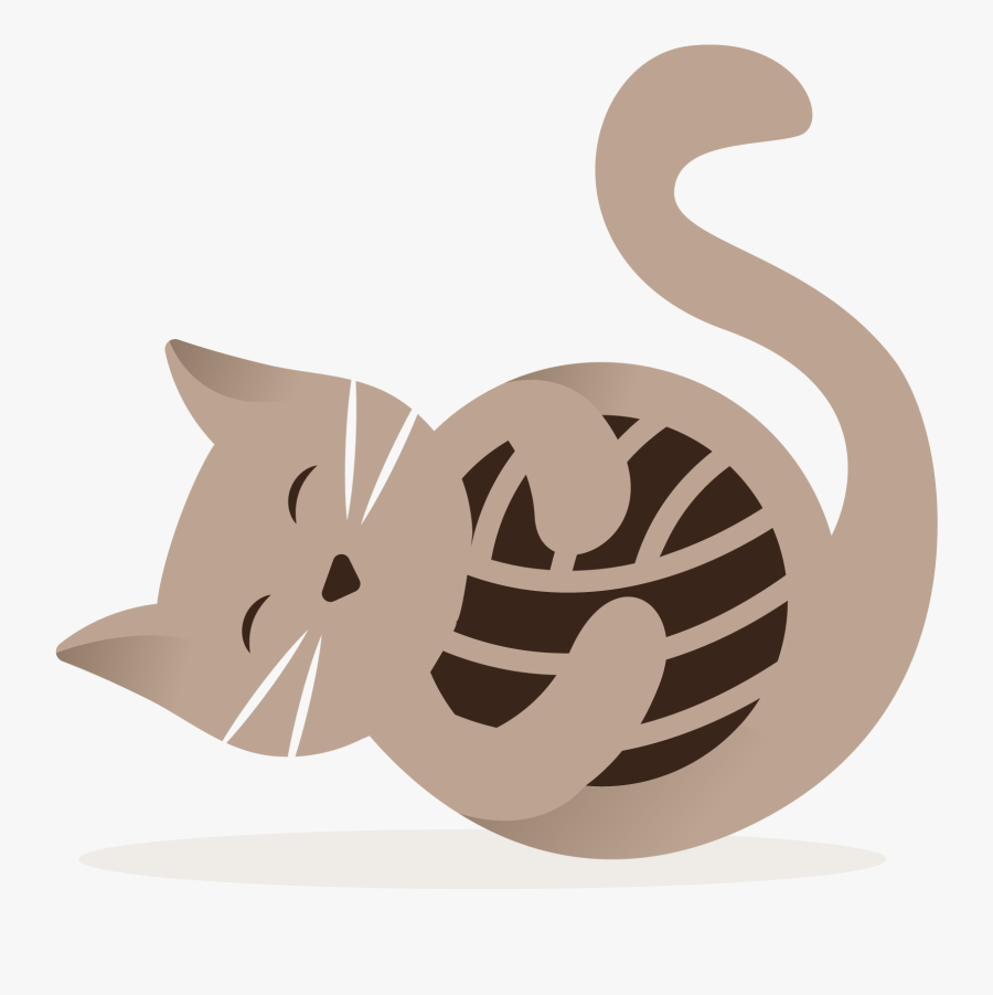 Cat Playing With Yarn, Transparent Clipart