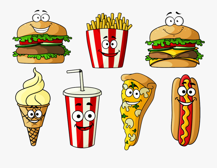 Hamburger Hot Dog Soft Drink Fast Food Cheeseburger - Cartoon Food And Drink, Transparent Clipart