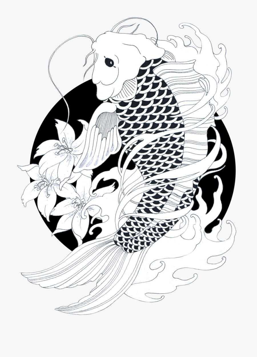 Transparent Japan Clipart Black And White - Black And White Koi Fish Drawing, Transparent Clipart