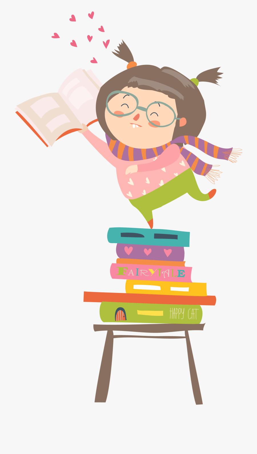 Vector Reading Kids, Transparent Clipart