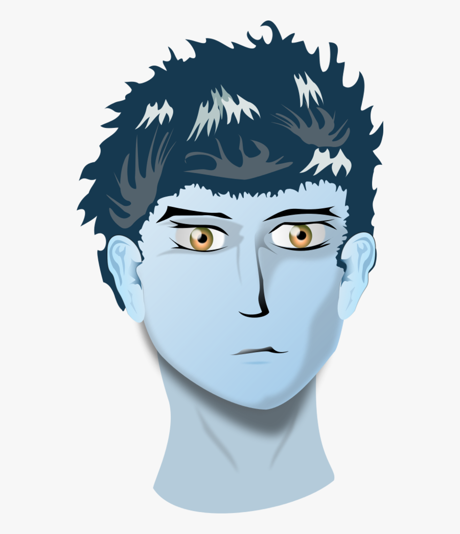 Head Of Boy With Blue Eyes - Use A Nasal Spray, Transparent Clipart