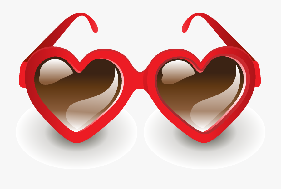 Hand Drawn Red Heart Shaped Glasses Elements - Fashion Ornaments, Transparent Clipart
