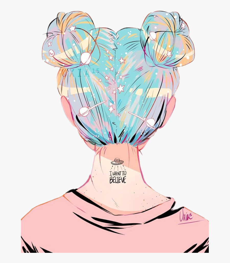 Space Girl Girly Superpower Girl With Space Buns Drawing