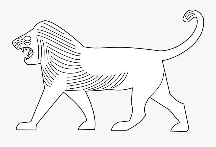 Lion, Walking, Animal, Mammal, Moving, Wildlife - Lion Of Babylon Drawing, Transparent Clipart
