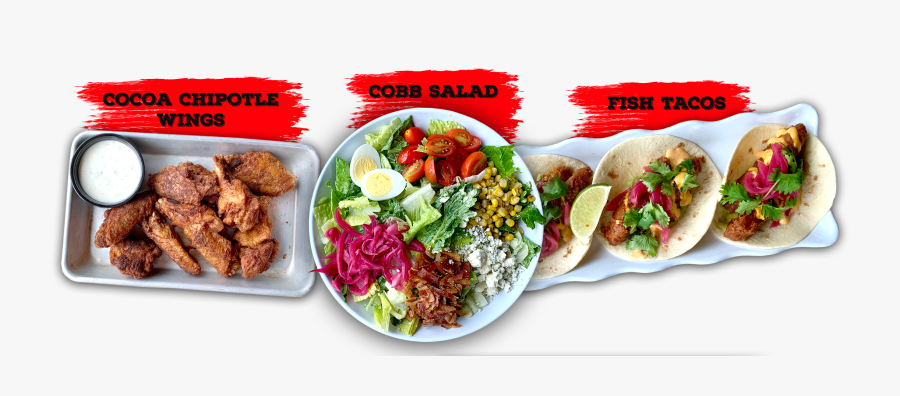 Cocoa Chipotle Wings, Cobb Salad, Fish Tacos - Korean Taco, Transparent Clipart