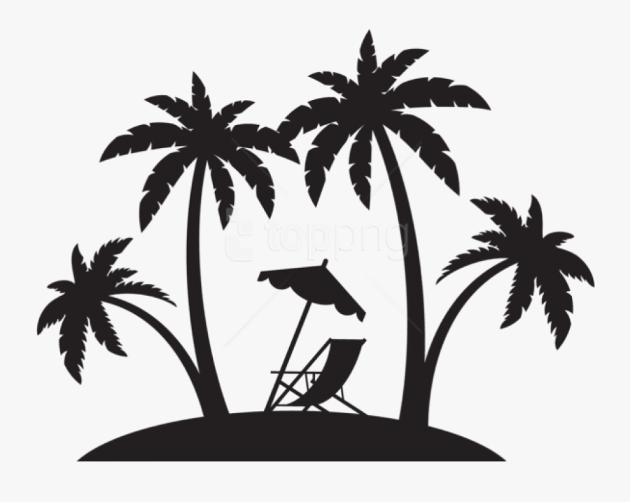 Palms And Beach Chair Silhouette Png Png - Beach Palm Tree Silhouette, Transparent Clipart