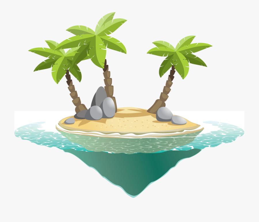 Transparent Deserted Island Clipart - Cartoon Island Transparent, Transparent Clipart